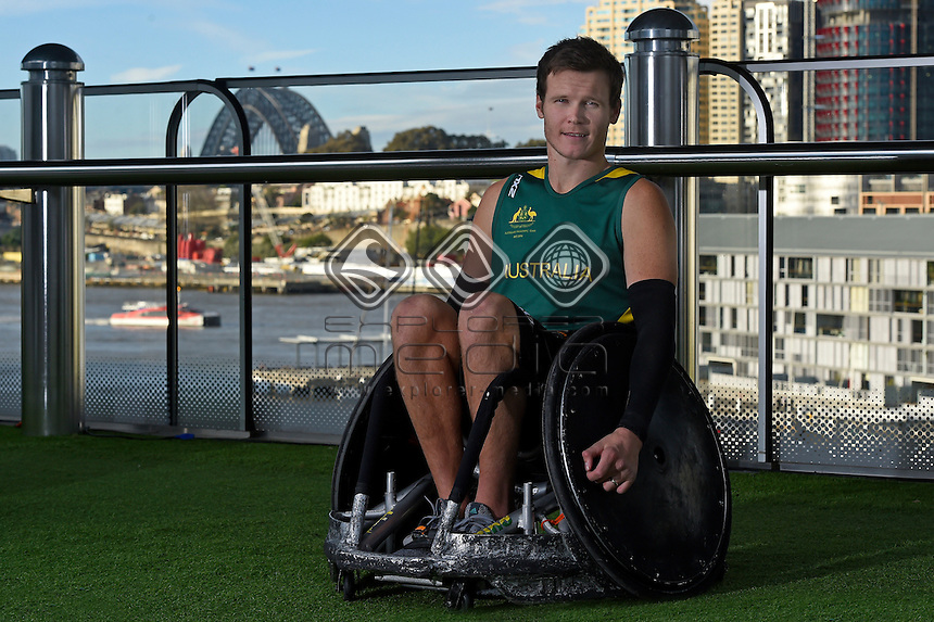 Sporting 2XU gear - Andrew Edmondson / Wheelchair rugby athlete<br /> 2016 APC RIO Uniform Launch with the city of Sydney as the backdrop shot from the Star Casino<br /> Australian Paralympic Committee<br /> Star Casino / Sydney / NSW<br /> Monday 6 June 2016<br /> &copy; Sport the library / Jeff Crow