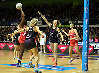 30.08.2017 Silver Ferns Katrina Grant in action during the Quad Series netball match between the Silver Ferns and England at the Trusts Arena in Auckland. Mandatory Photo Credit ©Michael Bradley.