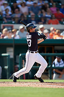 Detroit Tigers first baseman Pete Kozma (33) hits a double during a Grapefruit League Spring Training game against the Atlanta Braves on March 2, 2019 at Publix Field at Joker Marchant Stadium in Lakeland, Florida.  Tigers defeated the Braves 7-4.  (Mike Janes/Four Seam Images)