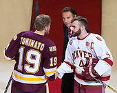 Dominic Toninato (UMD - 19), Tony Esposito, Will Butcher (DU - 4) - The University of Denver Pioneers defeated the University of Minnesota Duluth Bulldogs 3-2 to win the national championship on Saturday, April 8, 2017, at the United Center in Chicago, Illinois.