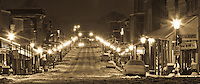 Van Buren Arkansas Historic Main Street taken at night during a snow storm.