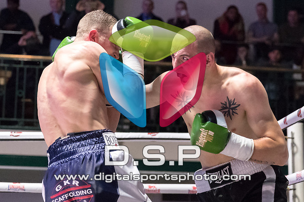 Lewis Syrett vs Aleks Chukaleyski 4x3 - Middleweight Contest During Goodwin Boxing: Nemesis. Photo by: Simon Downing.<br /> <br /> Saturday 22th April 2017 - York Hall, Bethnal Green, London, United Kingdom.