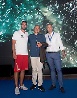 from the right Andrea Di Nino, Costantin Grigorishin Energy Standard, James Gibson coach <br /> day 01  08-08-2017<br /> Energy For Swim<br /> Rome  08 -09  August 2017<br /> Stadio del Nuoto - Foro Italico<br /> Photo Deepbluemedia/Insidefoto