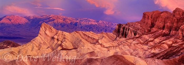 915000005 panoramic view of dawn breaking through a clearing storm over the colored sandstone formations of manly beacon and zabriski point in death valley national park california