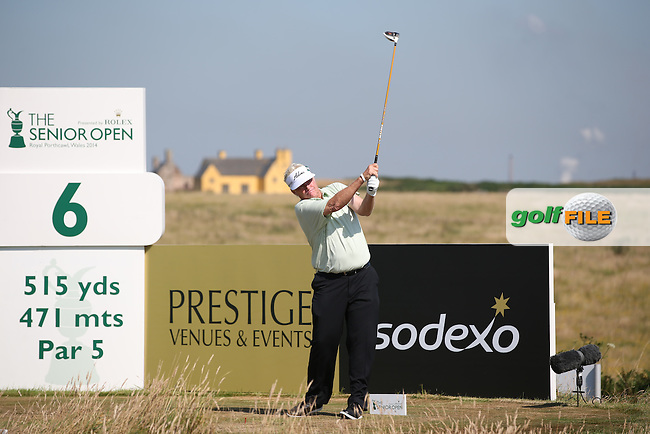 Defending Champion Mark Wiebe (USA) during Round Two of the 2014 Senior Open Championship presented by Rolex from Royal Porthcawl Golf Club, Porthcawl, Wales. Picture:  David Lloyd / www.golffile.ie