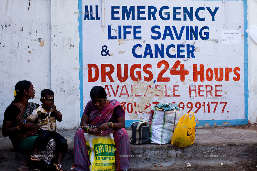 Medical and drug stores open for business next to Niloufer Hospital in Hyderabad, Andhra Pradesh, India on 28 November 2011. Photo by Suzanne Lee for Capa Pictures