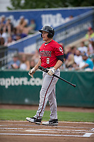 Billings Mustangs center fielder Drew Mount (8) at bat during a Pioneer League game against the Ogden Raptors at Lindquist Field on August 17, 2018 in Ogden, Utah. The Billings Mustangs defeated the Ogden Raptors by a score of 6-3. (Zachary Lucy/Four Seam Images)