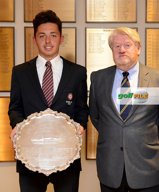 Marco Penge poses with Peter McEvoy and the trophy during the Peter McEvoy Trophy, Copt Heath Golf Club, 1220 Warwick Road, Knowle, Solihull, West Midlands, B93 9LN, England.<br /> Picture: Richard Martin Roberts / Golffile