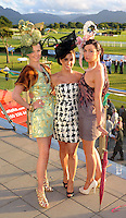 Norma O'Donoghue, left, and Jennifer Lenihan, Killarney, right,   with Fashion  Judge Sinead Desmond, TV3,  at  Killarney Races on  Friday  evening. Picture: Eamonn Keogh (MacMonagle, Killarney)