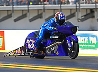 Mar 17, 2017; Gainesville , FL, USA; NHRA pro stock motorcycle rider Matt Smith during qualifying for the Gatornationals at Gainesville Raceway. Mandatory Credit: Mark J. Rebilas-USA TODAY Sports