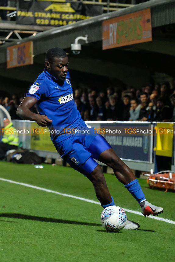Deji Oshilaja of AFC Wimbledon in action during AFC Wimbledon vs Bradford City, Sky Bet EFL League 1 Football at the Cherry Red Records Stadium on 2nd October 2018