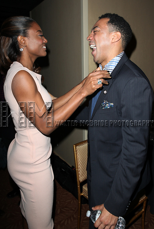 Patina Miller & Charl Brown attending the 2013 Tony Awards Meet The Nominees Junket  at the Millennium Broadway Hotel in New York on 5/1/2013...