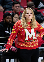 COLLEGE PARK, MD - DECEMBER 8: Maryland head coach Brenda Frese watches the action during a game between Loyola University and University of Maryland at Xfinity Center on December 8, 2019 in College Park, Maryland.