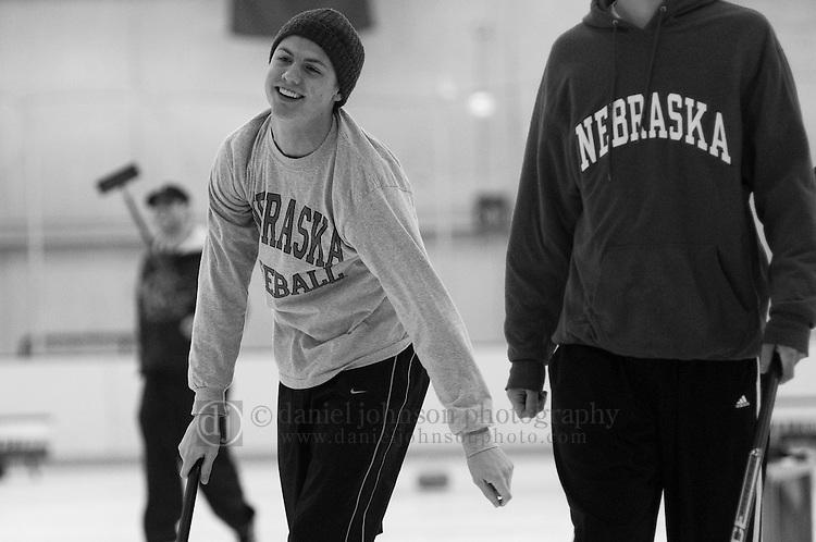 13 February 2009 -- Aksarben Curling Club. Members of the Aksarben Curling Club participate in league play at the Moylan IcePlex in Tranquility Park on Sunday night in Omaha, Neb.   PHOTO/ Daniel Johnson (Copyright 2008 Daniel Johnson)