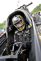 May 10, 2013; Commerce, GA, USA: NHRA top fuel dragster driver Tony Schumacher during qualifying for the Southern Nationals at Atlanta Dragway. Mandatory Credit: Mark J. Rebilas-