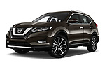 Stock pictures of low aggressive front three quarter view of 2018 Nissan X-Trail Tekna 5 Door SUV Low Aggressive