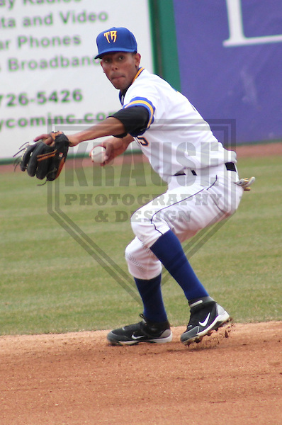 APPLETON - APRIL 2011: Carlos George (7) of the Wisconsin Timber Rattlers, Class-A affiliate of the Milwaukee Brewers, during a game on April 10, 2011 at Fox Cities Stadium in Appleton, Wisconsin. (Photo by Brad Krause) ....