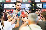 Player Pablo Aguilar attends to the media after the first training of Spanish National Team of Basketball 2019 . July 26, 2019. (ALTERPHOTOS/Francis González)