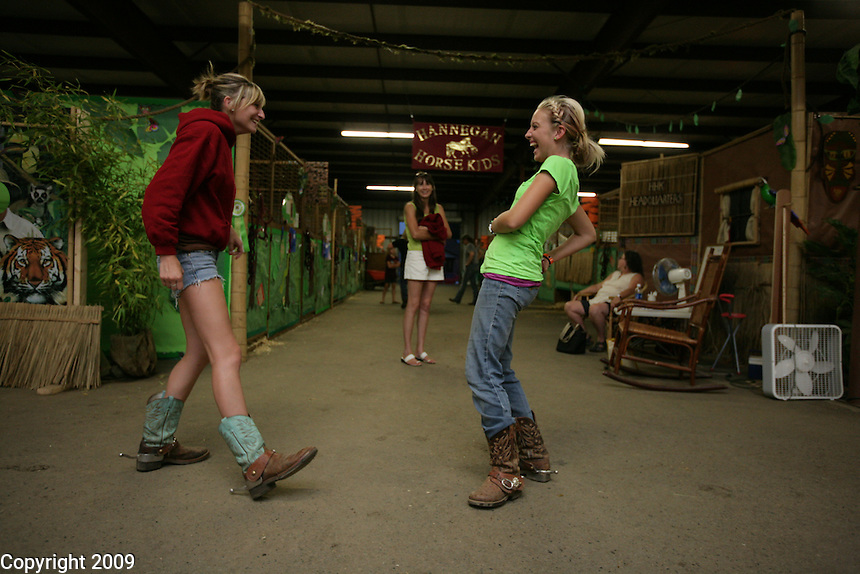 Jacey Murphy, 17, of Hannegan Horse Kids, left, and Katy O'Flaherty, 18, of Lynden, and Blazing Saddles (360-393-0578) NW Washington Fair. August 16, 2009 PHOTOS BY MERYL SCHENKER