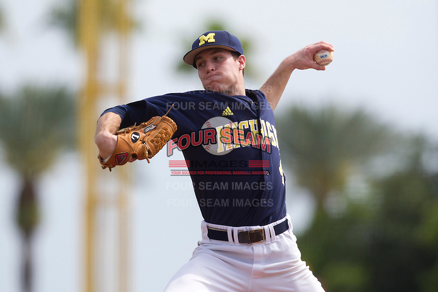 Michigan Wolverines pitcher Bobby Brosnahan #45 delivers a pitch during a game against the Seton Hall Pirates at the Big Ten/Big East Challenge at Al Lang Stadium on February 18, 2012 in St. Petersburg, Florida.  (Mike Janes/Four Seam Images)