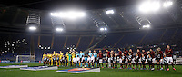 Calcio, Champions League: Gruppo E - Roma vs Bate Borisov. Roma, stadio Olimpico, 9 dicembre 2015.<br /> Roma and Bate Borisov players line up prior to the start of the Champions League Group E football match between Roma and Bate Borisov at Rome's Olympic stadium, 9 December 2015.<br /> UPDATE IMAGES PRESS/Isabella Bonotto
