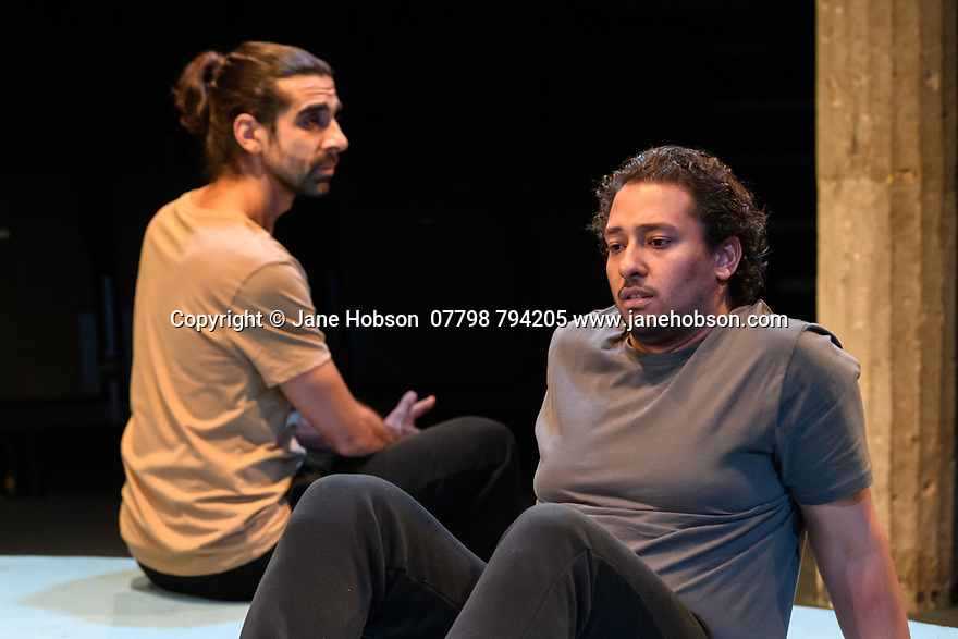 """The Arrival"", written and directed by Bijan Sheibani, opems at the Bush Theatre. Set and costume design is by Samal Black, lighting design by Oliver Fenwick, movement direction by Aline David. The Picture shows: Scott Karim (Tom), Irfan Shamji (Samad)."