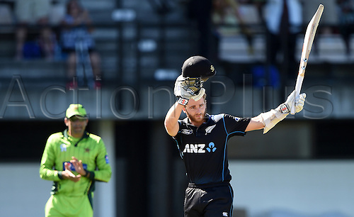 03.02.2015. Napier, New Zealand.  Kane Williamson celebrates his century. ANZ One Day International Cricket Series. Match 2 between New Zealand Black Caps and Pakistan at McLean Park in Napier, New Zealand.