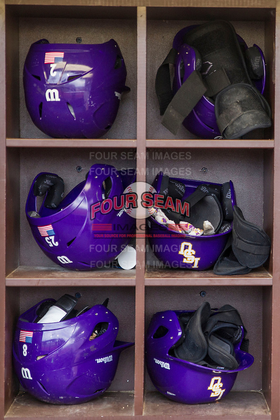 LSU Tigers helmet rack on April 24, 2015 at Alex Box Stadium in Baton Rouge, Louisiana. LSU defeated Texas A&M 9-6. (Andrew Woolley/Four Seam Images)