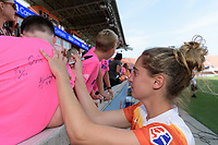 Houston, TX - Saturday May 27, 2017: Morgan Brian signs autographs for the fans after a regular season National Women's Soccer League (NWSL) match between the Houston Dash and the Seattle Reign FC at BBVA Compass Stadium.