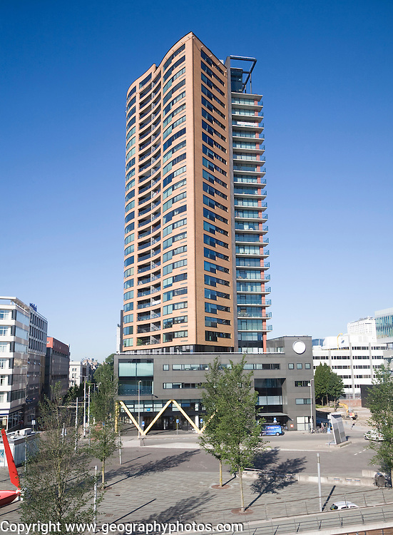 Modern high rise apartment block central Rotterdam, Netherlands