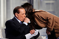 Silvio Berlusconi eating something from a tube<br /> Rome February 14th 2019. Silvio Berlusconi appears as a guest on the Tv show Porta a Porta.<br /> Foto Samantha Zucchi Insidefoto