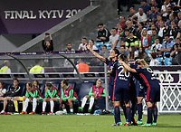 Football, Uefa Women's Champions League Final, VfL Wolfsburg - Olympique Lyonnais, Valeriy Lobanovskyi Stadium in Kiev on May 24, 2018.<br /> Olympique Lyonnais' Ada Hegerberg (l) celebrates after scoring  with her teammates during the Uefa Women's Champions League Final between  VfL Wolfsburg and Olympique Lyonnais, at the Valeriy Lobanovskyi Stadium in Kiev, on May 24, 2018.<br /> UPDATE IMAGES PRESS/Isabella Bonotto