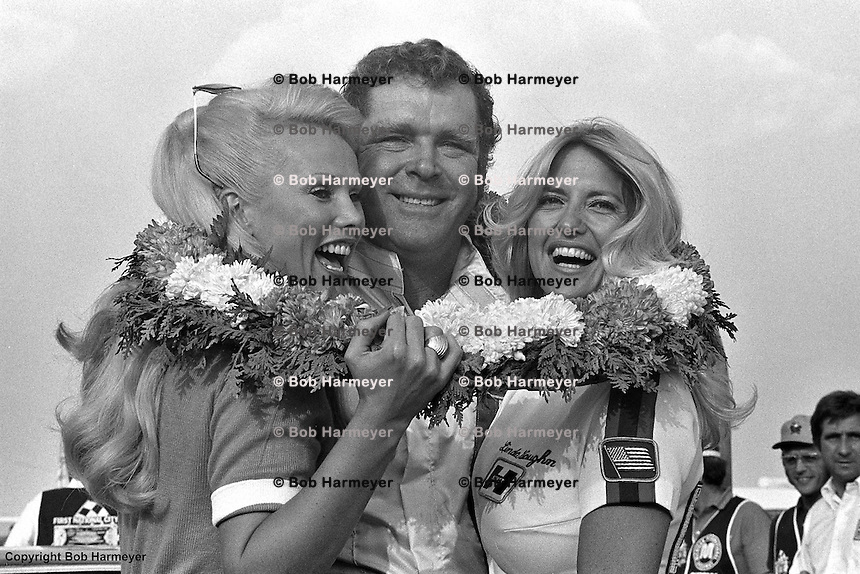 Buddy Baker in Victory Lane after winning a 1976 IROC race at Michigan International Speedway near Brooklyn, Michigan.