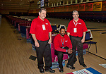 Lane crew team members Jimmy McFarland, Tyrone Burks and Jeff Jensen before the start of the US Bowling Championships on March 1, 2013 at the National Bowling Center in Reno, Nevada.