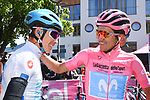 Maglia Bianca Miguel Angel Lopez Moreno (COL) Astana Pro Team and Maglia Rosa Richard Carapaz (ECU) Movistar Team at sign on before Stage 18 of the 2019 Giro d'Italia, running 222km from Valdaora-Olang to Santa Maria di Sala, Italy. 30th May 2019<br /> Picture: Massimo Paolone/LaPresse | Cyclefile<br /> <br /> All photos usage must carry mandatory copyright credit (© Cyclefile | Massimo Paolone/LaPresse)