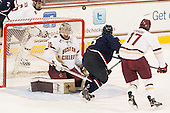Steve Santini (BC - 6), Thatcher Demko (BC - 30), Spencer Naas (UConn - 8), Destry Straight (BC - 17) - The Boston College Eagles defeated the visiting University of Connecticut Huskies 3-2 on Saturday, January 24, 2015, at Kelley Rink in Conte Forum in Chestnut Hill, Massachusetts.