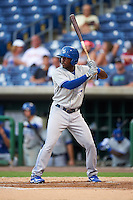 Dunedin Blue Jays left fielder D.J. Davis (6) at bat during a game against the Clearwater Threshers on August 15, 2016 at Bright House Field in Clearwater, Florida.  Dunedin defeated Clearwater 4-1.  (Mike Janes/Four Seam Images)