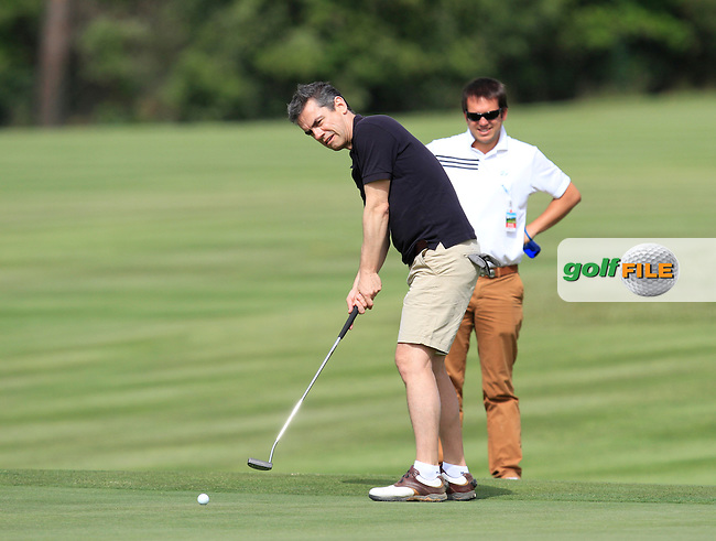 Playing with Sergio Garcia (ESP) on the 5th during the Pro-Am of the Open de Espana  in Club de Golf el Prat, Barcelona on Wednesday 13th May 2015.<br /> Picture:  Thos Caffrey / www.golffile.ie