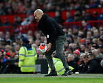 Josep Guardiola manager of Manchester City retrieves the ball during the Premier League match at Old Trafford, Manchester. Picture date: 8th March 2020. Picture credit should read: Darren Staples/Sportimage