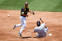Dayne Parker (11) of the Wichita State Shockers turns a double play during a game against the Missouri State Bears in the 2012 Missouri Valley Conference Championship Tournament at Hammons Field on May 23, 2012 in Springfield, Missouri. (David Welker/Four Seam Images)