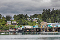 Ship loading dock in the town of Yakutat, southeast Alaska.