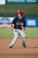 Conor Keniry (11) of the Hagerstown Suns pulls up after rounding second base during the game against the Kannapolis Intimidators at CMC-Northeast Stadium on July 19, 2015 in Kannapolis, North Carolina.  The Suns defeated the Intimidators 9-4.  (Brian Westerholt/Four Seam Images)