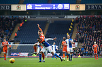 Blackburn Rovers 3 Shrewsbury Town 1, 14/01/2018. Ewood Park, League One. Home defender Ryan Nyambe is challenged by an opponent during the first-half as Blackburn Rovers played Shrewsbury Town in a Sky Bet League One fixture at Ewood Park. Both team were in the top three in the division at the start of the game. Blackburn won the match by 3 goals to 1, watched by a crowd of 13,579. Photo by Colin McPherson.