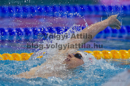 Radoslaw Kawecki of Poland competes inin the Men's 200m Backstroke  final of the 31th European Swimming Championships in Debrecen, Hungary on May 26, 2012. ATTILA VOLGYI