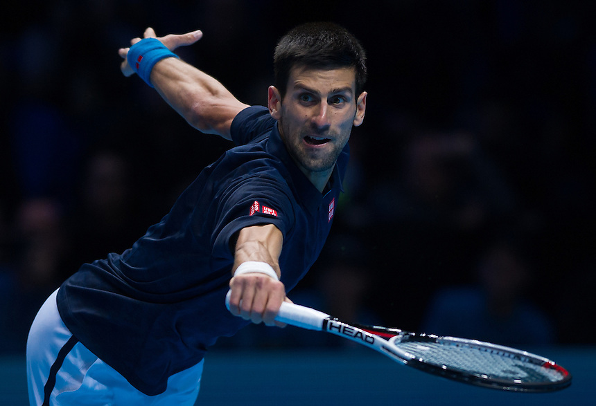 Novak Djokovic of Serbia in action during his defeat to Andy Murray of Great Britain in their men&rsquo;s singles Final match today - Andy Murray def Novak Djokovic 6-3, 6-4<br /> <br /> Photographer Ashley Western/CameraSport<br /> <br /> International Tennis - Barclays ATP World Tour Finals - Day 8 - Sunday 18th November 2016 - O2 Arena - London<br /> <br /> World Copyright &copy; 2016 CameraSport. All rights reserved. 43 Linden Ave. Countesthorpe. Leicester. England. LE8 5PG - Tel: +44 (0) 116 277 4147 - admin@camerasport.com - www.camerasport.com