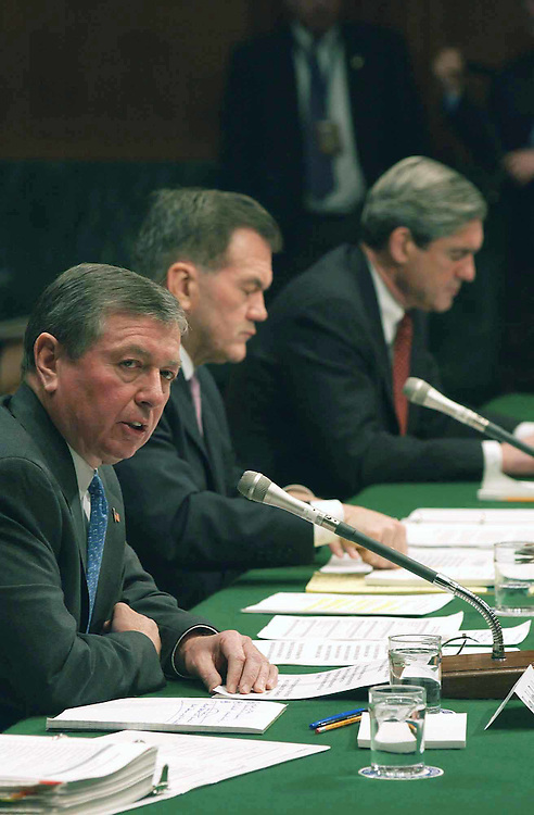 3/4/03.WAR AGAINST TERRORISM--U.S. Attorney General John D. Ashcroft, Homeland Security Director Tom Ridge, and FBI Director Robert S. Mueller, during the Senate Judiciary hearing on the war against terrorism..CONGRESSIONAL QUARTERLY PHOTO BY SCOTT J. FERRELL