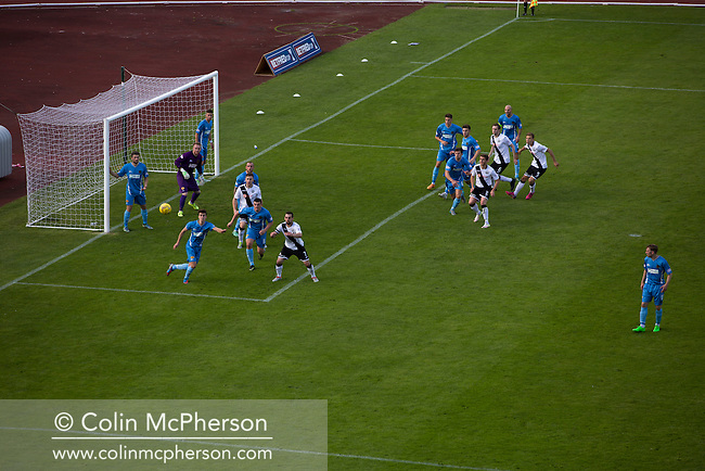 Edinburgh City on the attack in the second half of their SPFL2 match against Berwick Rangers. The visitors struck back with two late goals to secure victory at Meadowbank. Despite taking the lead in the 66th minute through Ousman See's goal, City lost the game 2-1, watched by a crowd of 410 and remained without a point at the foot of the table after four League games.