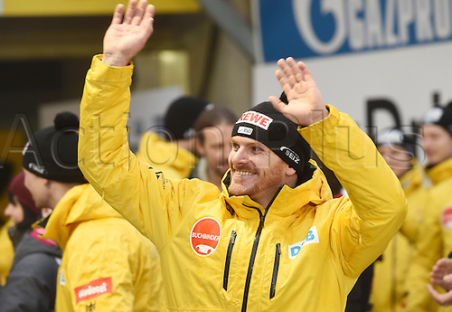 28.02.2016. Koenigssee, Germany.  German bobsled pilot Maximilian Arndt waves to the crowd after the race at the Bobsled World Cup in Koenigssee, Germany, 28 February 2016. Arndt won first place in the race and overall at the World Cup.