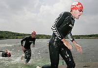 09 JUN 2007 - TREDEGAR, UK - Tim Don leaves the water on his way to winning the National Elite Mens Triathlon Championships at the second round of the Corus Elite Triathlon Series. (PHOTO (C) NIGEL FARROW)