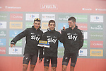 Gianni Moscon (ITA), Mikel Nieve (ESP) and Wout Poels (NED) representing Team Sky on the podium at the end of Stage 17 of the 2017 La Vuelta, running 180.5km from Villadiego to Los Machucos. Monumento Vaca Pasiega, Spain. 6th September 2017.<br /> Picture: Unipublic/&copy;photogomezsport | Cyclefile<br /> <br /> <br /> All photos usage must carry mandatory copyright credit (&copy; Cyclefile | Unipublic/&copy;photogomezsport)